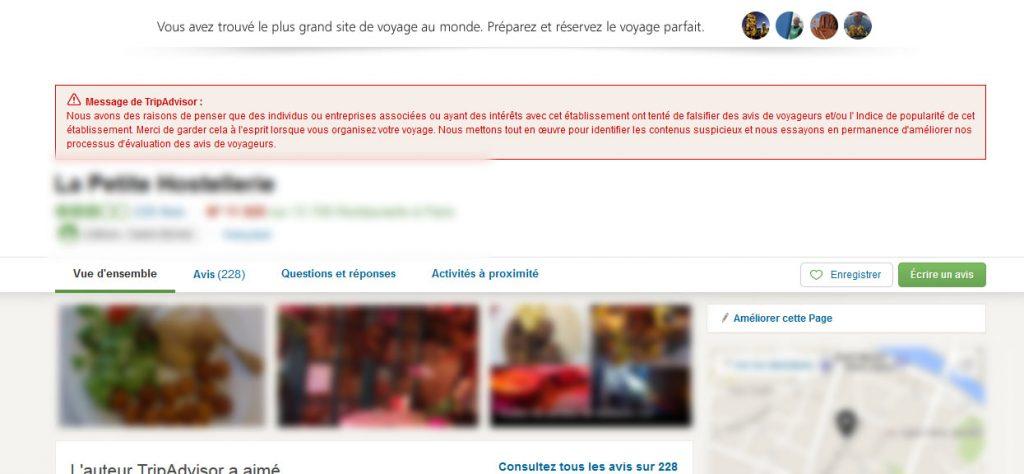 Message de Tripadvisor rouge - sanctions